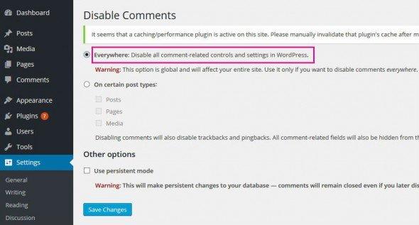 отключение комментариев при помощи плагина wordpress disable comments