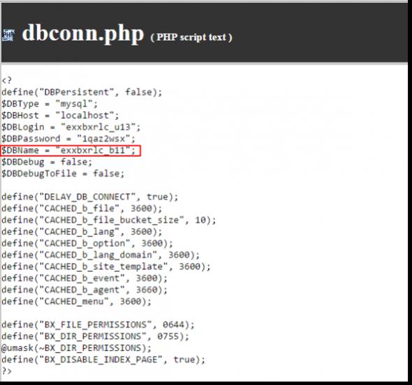 конфигурационный файл dbconn.php для битрикса